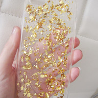 US seller iPhone 6 6S case clear gold flake flakes glitter bling cute silicone