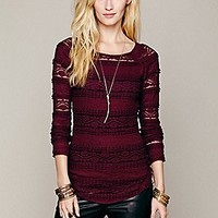 Free People  Textured Lace Top at Free People Clothing Boutique