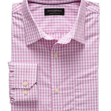 Factory Classic Fit Non Iron Pink Gingham Shirt