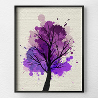 Tree Wall Art, Modern Home Decor, Fine Art Print, Modern Art Print, Nature Art Print, Tree Artwork, Office Decor, Minimalist Art, Purple Art