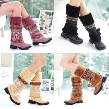 Women Lace Up Fur Lined Winter Warm Flat Knee High Snow Boots Lady Ski Snow Shoe = 193