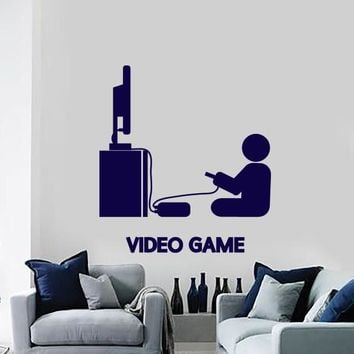 Wall Vinyl Decal Video Games Player Joystick Playroom Large Decor (n869)