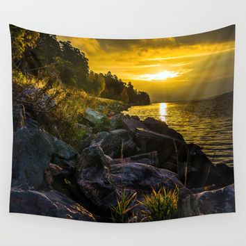 Morning Gold II Wall Tapestry by HappyMelvin