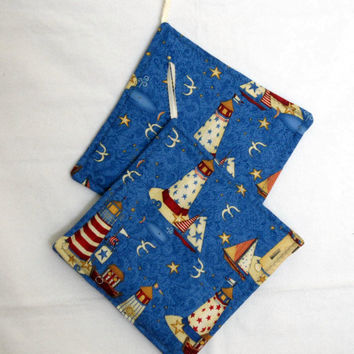 Potholders  featuring Lighthouses by sewinggranny on Etsy