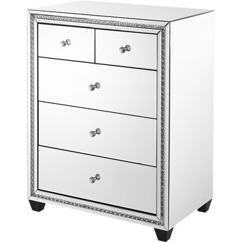 "Modern 31.5"" Crystal 5-Drawer Cabinet, Clear Mirror Finish"