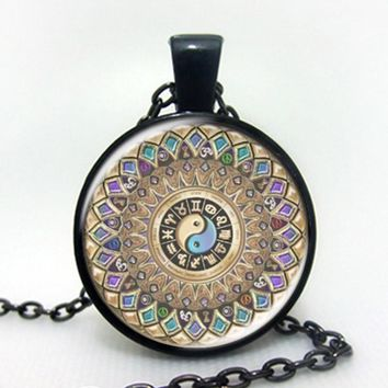 Fashion yin yang jewelry mandala necklaces 1Pcs henna yoga pendant om symbol buddhism zen handmade India style necklace 2016 black