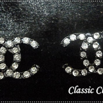 Designer-inspired Chanel earrings CC earrings Crystal ( 1 pair ) Made for Surgical Steel ( Free shipping !!!! and Buy 2 Get 1 )