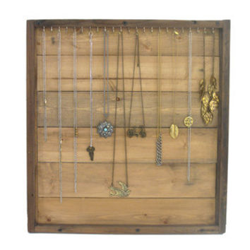Jewelry Storage // Necklace Display Organizer // Wall Rack // Handmade Wall Storage / /Eco-Friendly Home Decor // Reclaimed Wood