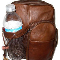 Genuine Leather Brown Backpack Crossbody Bag