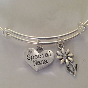 Special Nana Silver Charm Silver Plated Bracelet Adjustable Wire Bangle Expandable Trendy Handmade Grandmother Grandma