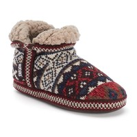 MUK LUKS Amira Women's Safari Fairisle Bootie Slippers (Red)