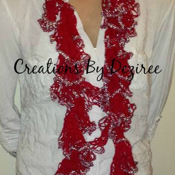 READY TO SHIP! Handmade Crochet Sparkly ruffle scarf