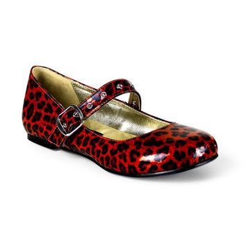 Daisy 04 Red Pearlized Glitter Leopard Print Flats by Demonia