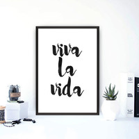 "Printable wall art""Viva la vida""Spanish proverb print,Motivational poster,Inspirational print,Spanish quote,Word art,Home decor,Wall decor"