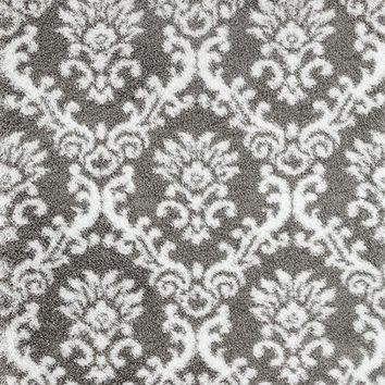 0454 Gray Damask Shag Area Rugs