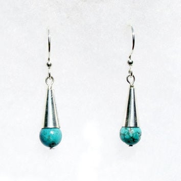 Turquoise Earrings, Drop Earrings, Silver Earrings, Silver and Turquoise