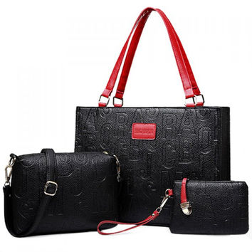 Stylish Letter Print and PU Leather Design Tote Bag For Women