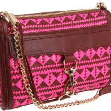 Rebecca Minkoff Women's Mac Woven Clutch, Neon Pink/Chocolate, One Size