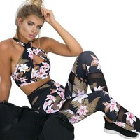 Fitness Floral Workout Top and Legging set