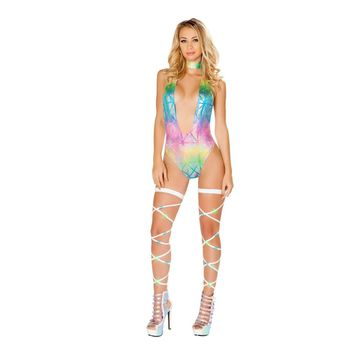 Roma Rave 3438 - Colorful V Neck Romper