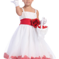 White Tulle Overlay with Floating Flower Petals Blossom Flower Girls Dress (Girls 2T - Size 12)