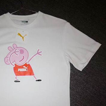 PUMA & Peppa Pig Joint Spoof Summer Half-Sleeve Women's Short Sleeve T-Shirt F-XMCP-YC white
