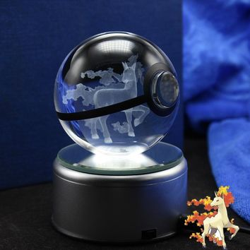 LED Night Light 3D  Go Engraving Rapidash Figures Glass Ball Toys Pokeball Brithday GiftsKawaii Pokemon go  AT_89_9