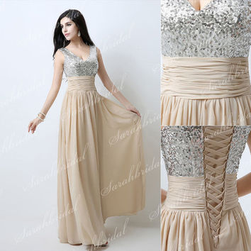 Champagne V-neck Sequin Chiffon Formal Evening Gowns Bridesmaid Party Prom Dress