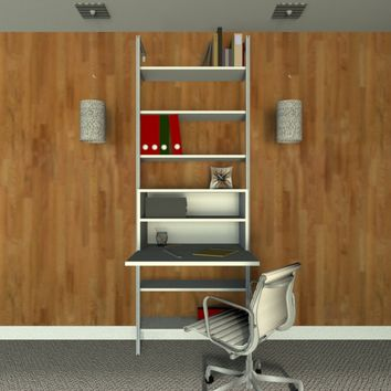 """33"""" Wide Single Bay Fold Down Desk With Shelves"""