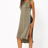 Vest Style Tunic Dress with Double Side Slit