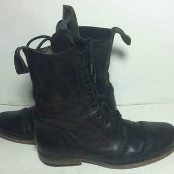 AllSaints Black Leather Combat Military Work Boots Men's Size 41 Size 8