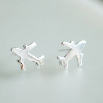 Sterling Silver Airplane Stud Earrings - Plane Post Earrings - Jet Post Earrings - Traveler Jewelry - Gift for her - Cute Stud Earrings