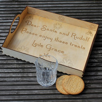 Personalised large wooden treat tray for Santa and Rudolph with your childs name added