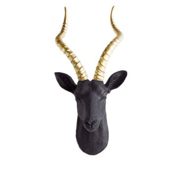 The Maasai | Large Antelope Gazelle Head | Faux Taxidermy | Black + Gold Horns Resin