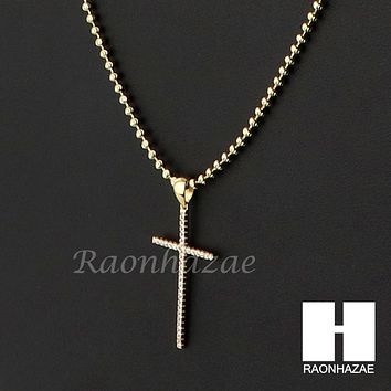 Sterling Silver .925 AAA Lab Diamond Flat Cross w/2.5mm Moon Chain S32