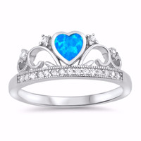 Sterling Silver CZ Lab Blue Opal Simulated Diamond Crown Tiara Ring 8MM