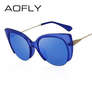 Cat Eye Sunglasses Semi-Rimless Glasses Fashion Women Brand Designer Mirror Sun glasses