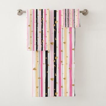 Pretty, Pink, Black White Stripes, Girly. Custom Bath Towel Set