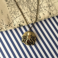 Vintage Style Octopus Locket Pendant Necklace- Nautical Locked Pendant- Pendant Necklace- Pendant Locket