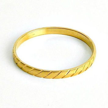 Vintage Monet Bangle Bracelet, Gold Tone Bracelet, Signed Monet Designer Bangle.