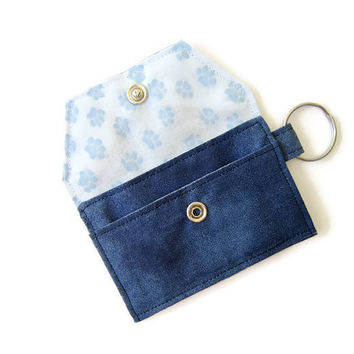 Mini key chain wallet/ simple ID Key chain  pouch / Business card holder/ keychain coin purse / blue pet paws pattern