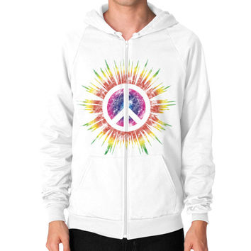 Tie Dye Peace Sign Zip Hoodie (on man)