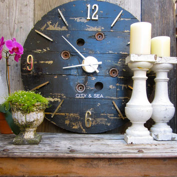 "LARGE Wood Wall Clock Reclaimed Recycled - French Barn look -  34"" Diameter"