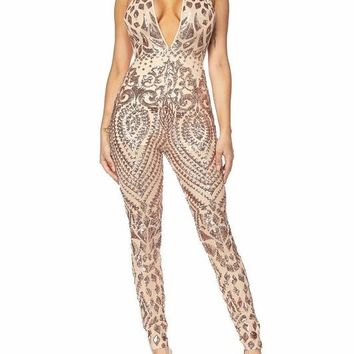 Rose Gold Sequin Sheer Jumpsuit