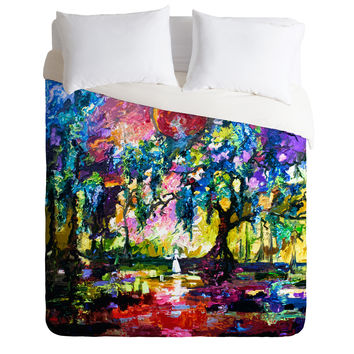 Ginette Fine Art Crimson Moon In Savannah Duvet Cover
