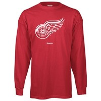 Reebok Detroit Red Wings Jersey Crest Primary Logo Long Sleeve T-Shirt - Red