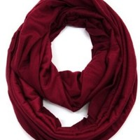 KMystic Large Solid Color Infinity Loop Jersey Scarf (Burgundy)