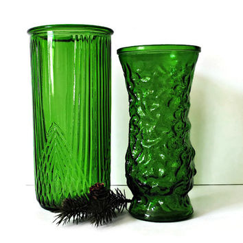 Set of 2 Green Hoosier Glass Clear Vases - 4080 A and Another - Instant Collection! - (#100.48)