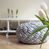 KNOTTY floor cushion 80x80x40 cm (light grey melange)
