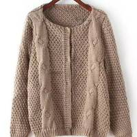 Coffee Colored Long Sleeve Knitted Cardigan